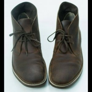 CLARKS Brown Leather Lace up Chukka Boots Size 14